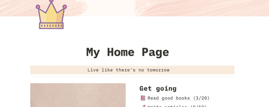 Aesthetic All-in-one Personal Planning Dashboard